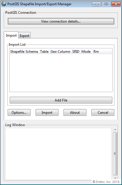 Opening of the PostGIS Shapefile and DBF load exporter
