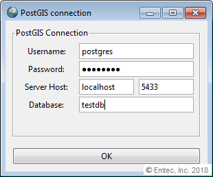 PostGIS database credentials