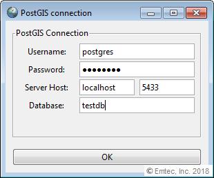 PostGIS database credentials